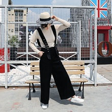 Newest velours lady suspender trousers wide leg pants women
