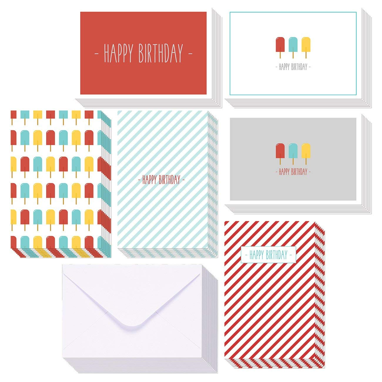 Get Quotations Birthday Cards Box Set 48 Pack Happy 6 Colorful Ice Pop Designs