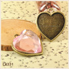 Antiqued Bronze Tone Alloy Heart Cameo Setting Tray Pendant Charms With Rhinestone So Beautiful