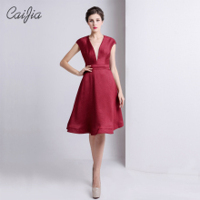 Caijia 2017 Noble Red Deep V-Neck Short Dress Chaozhou Cocktail Dress Decent Cap Sleeve Mother Of the Bridal Dress