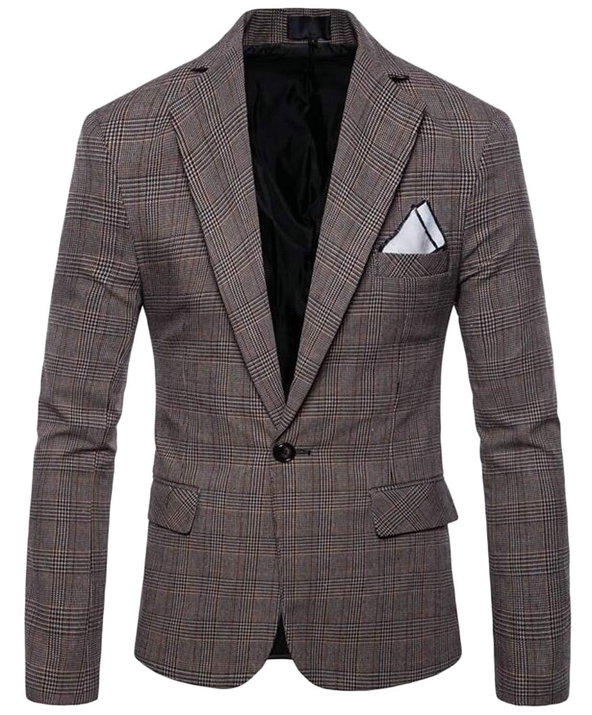 Wofupowga Mens Lapel Office Slim Fit Sport One Button Blazer Jackets