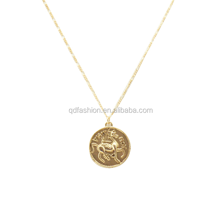 Wholesale Custom Pattern Tiny Circle Gold Plated Coin Pendant Engraved Necklace Chain Jewelry