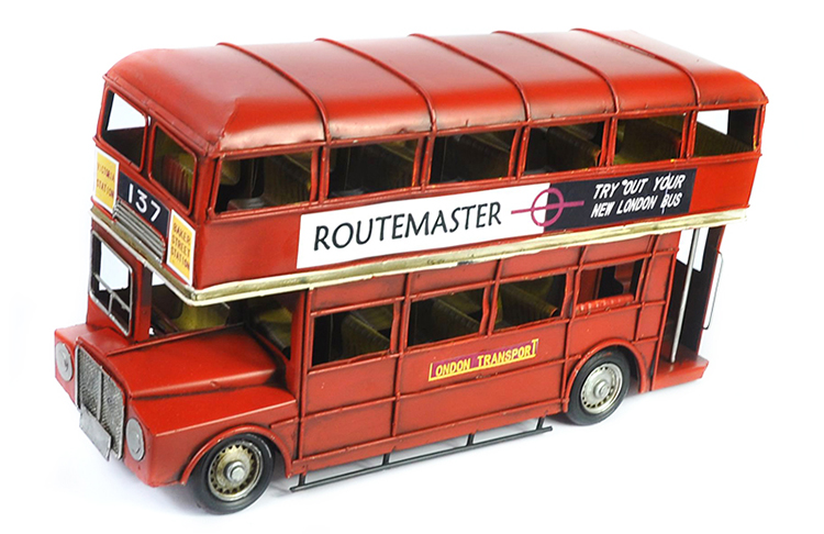 Red London Bus Blocks Metal Crafts Double Decker London Bus Toys Educational Children Model Gifts