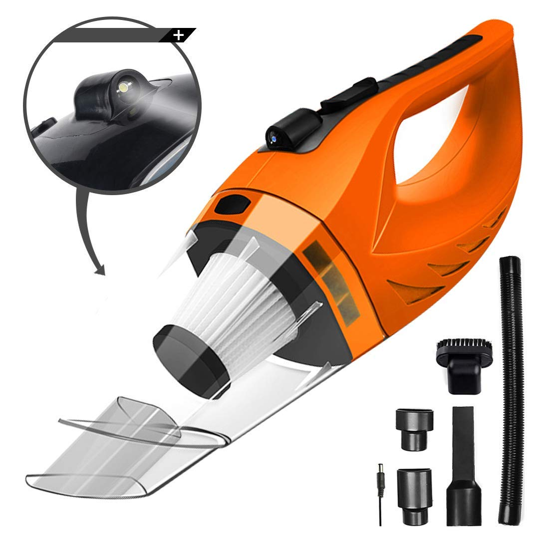 Cordless Car Vacuum Cleaner DC 12V 120W Wet Dry Auto Dustbuster Portable Handheld Auto Vacuum Cleaner for Car 4000Pa Suction Car Hoover with HEAP Filter&5Meters LED Light Car & Home Cleaner (Orange)