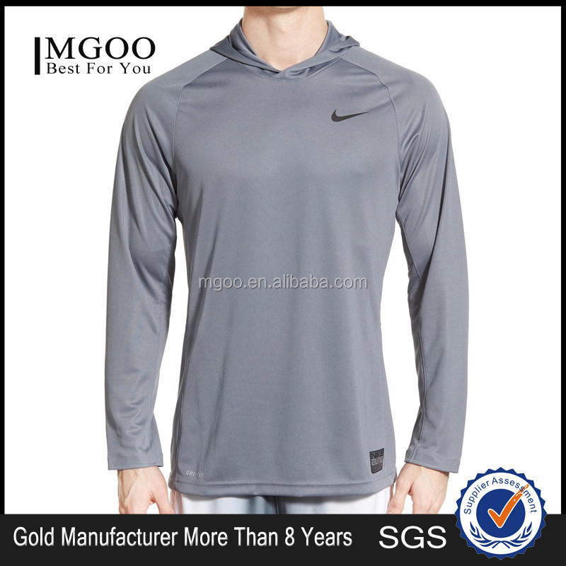 MGOO Manufacturer 100 Polyester Long Sleeves Hooded Shirts Dri Fit Basketball Shirts Plain Basic Mens Tops
