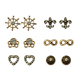 Fashion Beautiful Vintage paved cz men shield heart shape sailor wheel infinite stud earrings set pairs