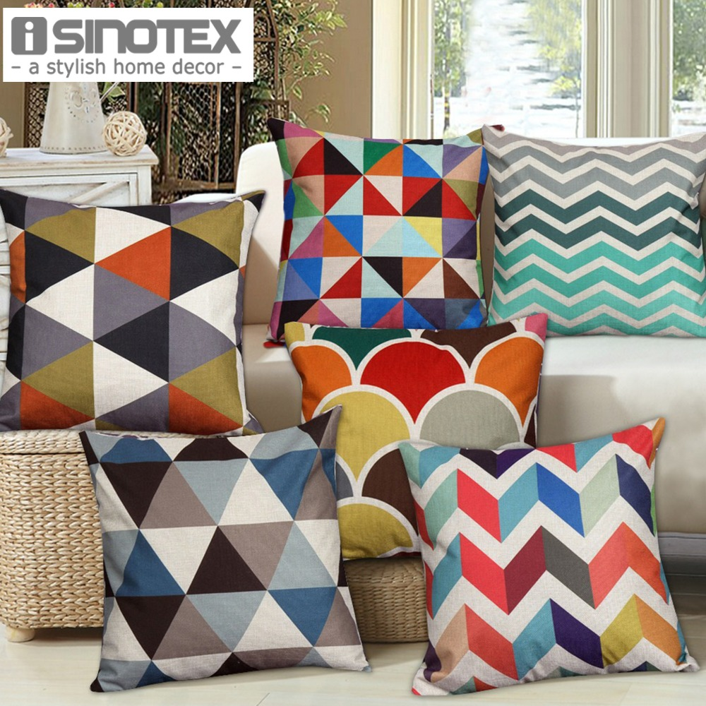 1 pcs nordic vintage cushion cover colorful plaid geometric cushions for sofa seat luxury home. Black Bedroom Furniture Sets. Home Design Ideas