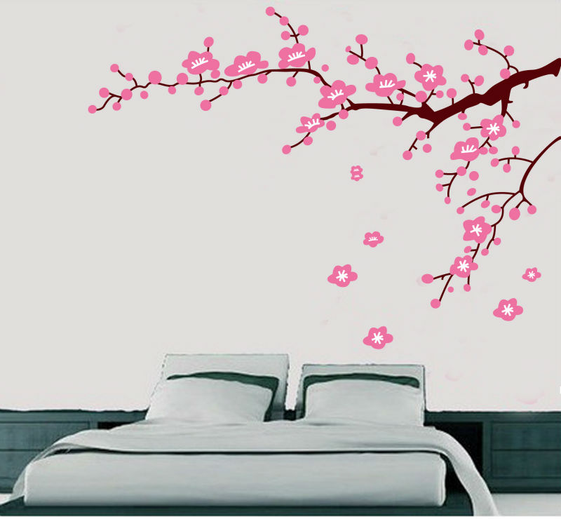 Free Shipping Home Decorative Mural Decal Art Vinyl Wall Sticker Winter Palm Flowers Tree Wallpaper