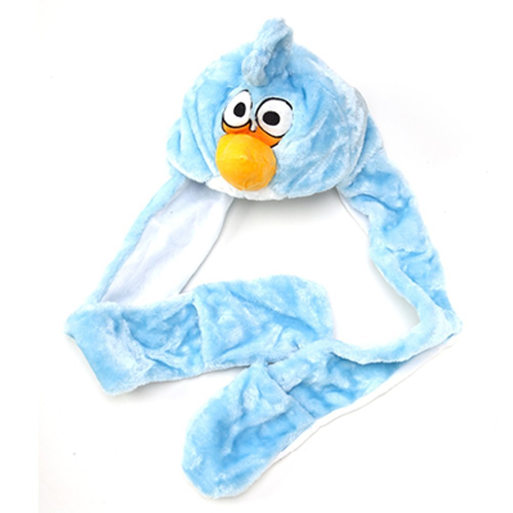 Plush Animal Hats Warm Beanie Blue Angry Bird Long Mittens Boy Girl Toddler