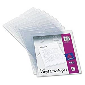 """Avery - 2 Pack - Top-Load Clear Vinyl Envelopes W/Thumb Notch 9 X 12 Insert Size 10/Pack """"Product Category: Binders & Binding Systems/Sheet Protectors Card & Photo Sleeves"""""""