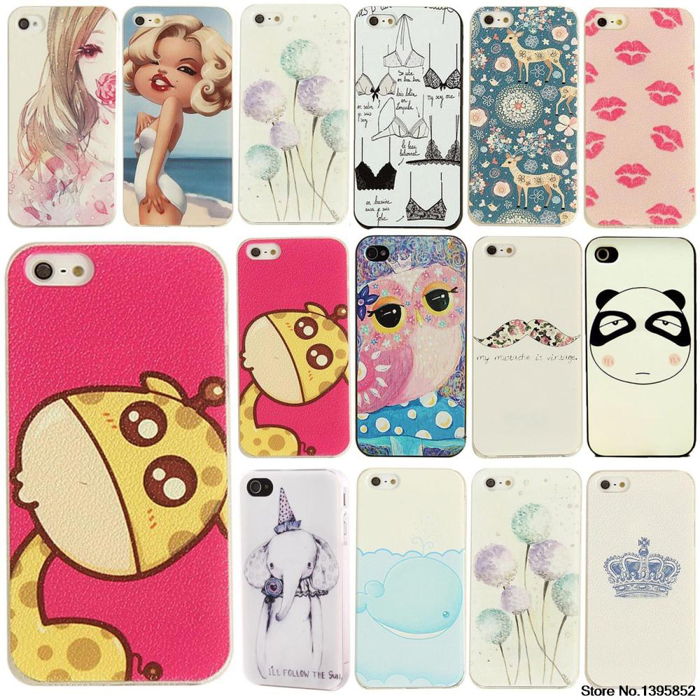 For iphone 4s case Various Cute Animals essert ice cream Macarons emboss Painted Pattern UV Hard