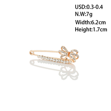 WAYZI brand cheap gold plated butterfly crystal rhinestones brooch pins for dress