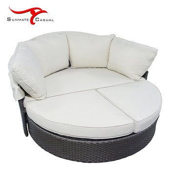Outdoor Round Lounge Furniture Rattan Patio Sofa bed Round Retractable Daybed