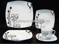 black and white flowered ceramic dinner set,Eco-friendly ceramic tableware ,round dining set