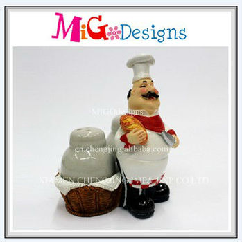 decorative resin fat french chef salt & pepper shakers - buy salt