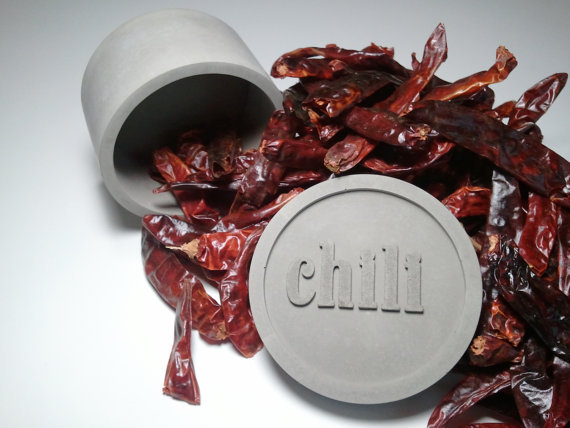 concrete dried chili pepper spice jar container with chili rim lid
