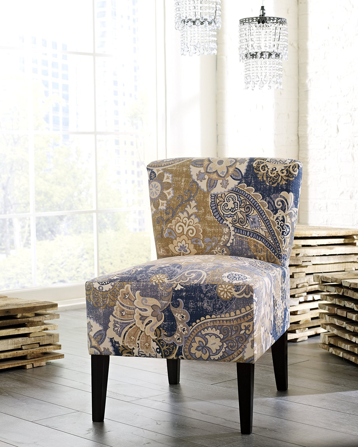 Get Quotations · Ravy Fabric Contemporary Accent Chair With Denim Paisley  Print, Denim