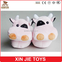 2015 newest plush cow indoor slippers cheap plush slippers factory cute cow kids winter slippers