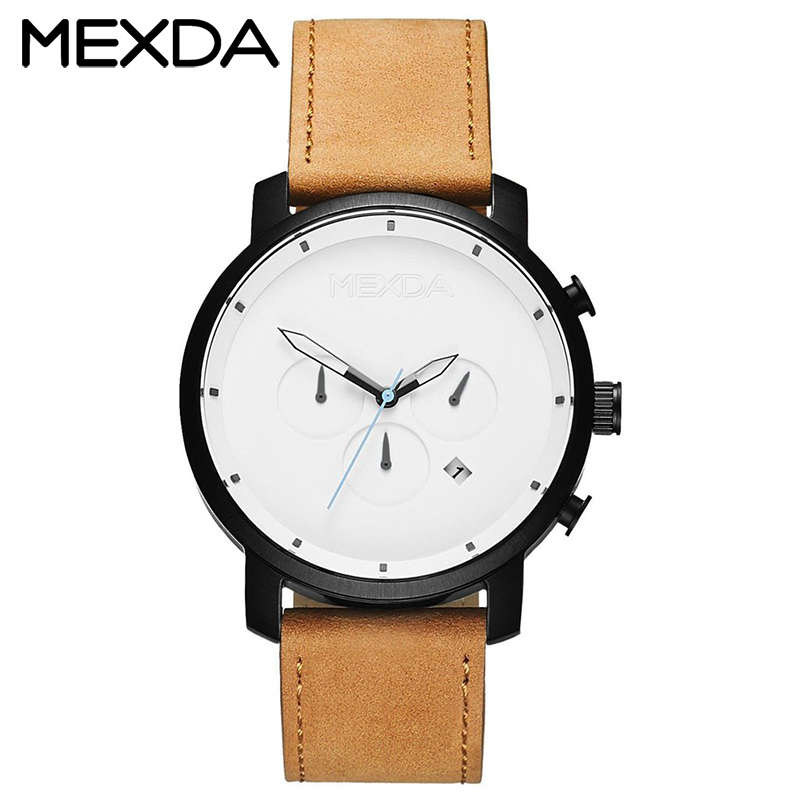 Wholesale high quality 5atm water resistant real genuine leather chronograph quartz wrist watch man stainless steel case back