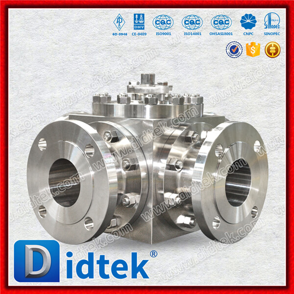 Didtek Lever Operated Stainless Steel CF8M 4 Way Ball Valve