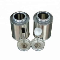 8 oz wholesale PVC adhesive metal screw top tin can with brush