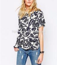 women fashion summer clothing spread collar short sleeve floral printed tunic tops