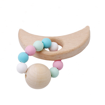 Moom Shaped Baby Nursing Bracelet Beech Wooden Teether Chewing Beads Teething Rattle Toys