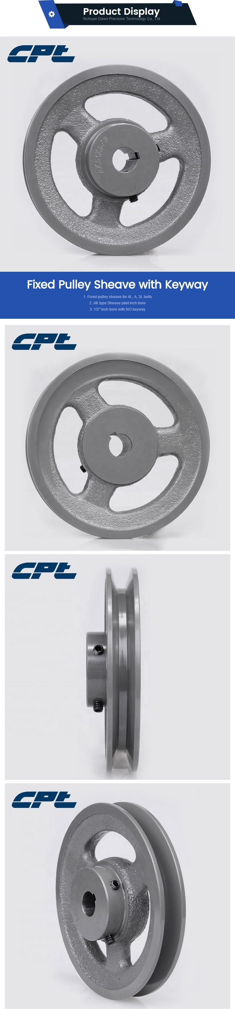 CPT Single Groove Fixed Bore AK64 6 Inch V Belt Pulley with Inch Inner Bore Diameter