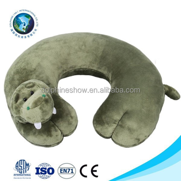 Cute animal design plush hippo u shape neck children pillow