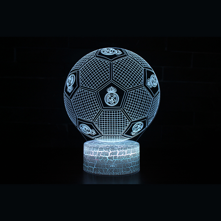 2018 creative gift remote control 7 color soccer football 3d led night light for sale