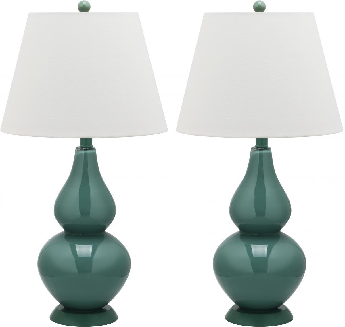 Safavieh Lighting Collection Cybil Double Gourd Table Lamp, Marine Blue, Set of 2
