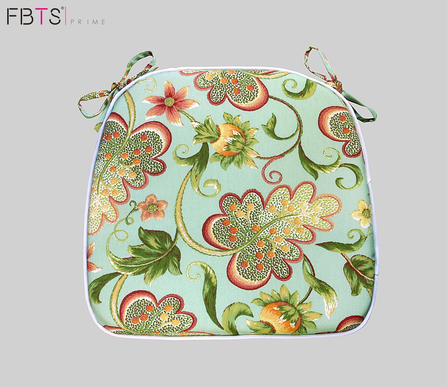 FBTS Prime Outdoor Chair Cushions (Set of 2) 16x17 Inches Patio Seat Cushions Green Floral Square Chair Pads for Outdoor Patio Furniture Garden Home Office
