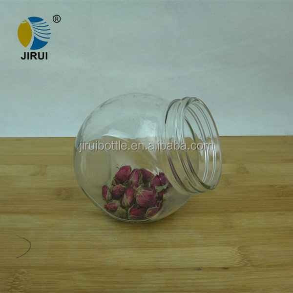 400ml Big clear round glass candy jar with beautiful lid