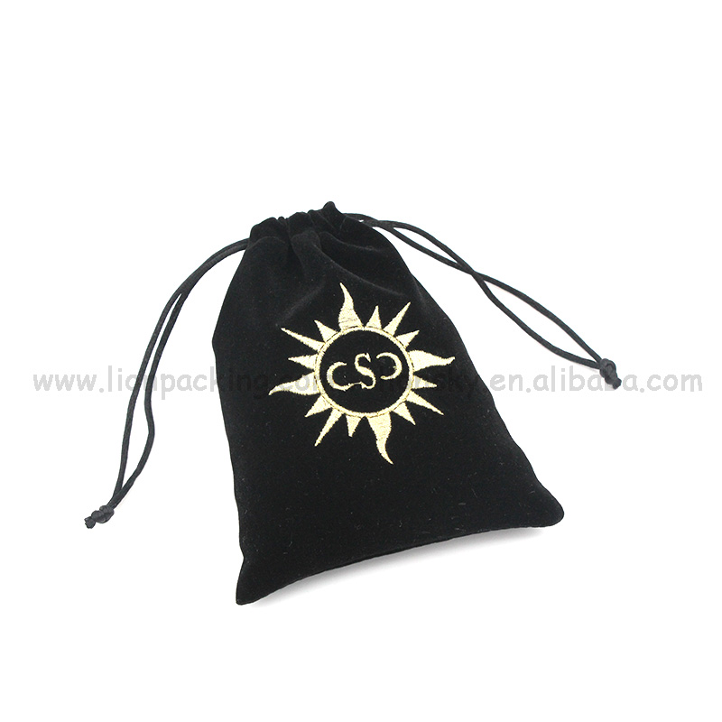 High Quality Black Drawstring Velvet Pouch with Hot Stamped Gold Logo