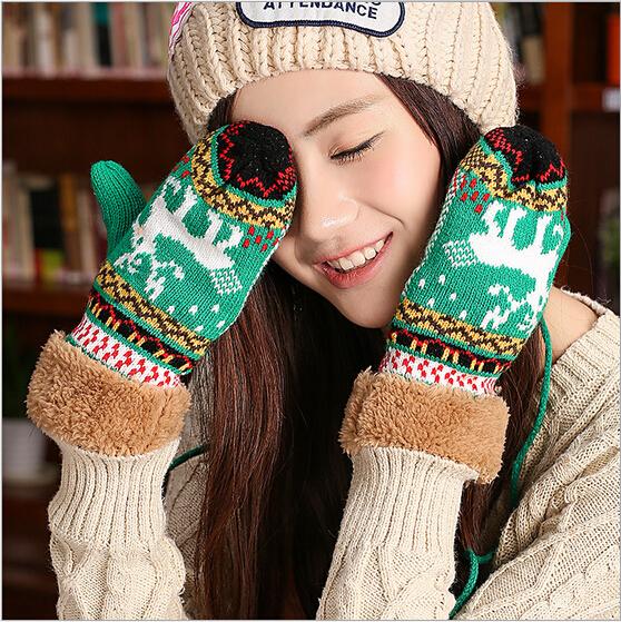 Горячая распродажа леди винтер рождественский олень варежки женского двойной утолщение шерстяной жакет перчатки cdlz2101