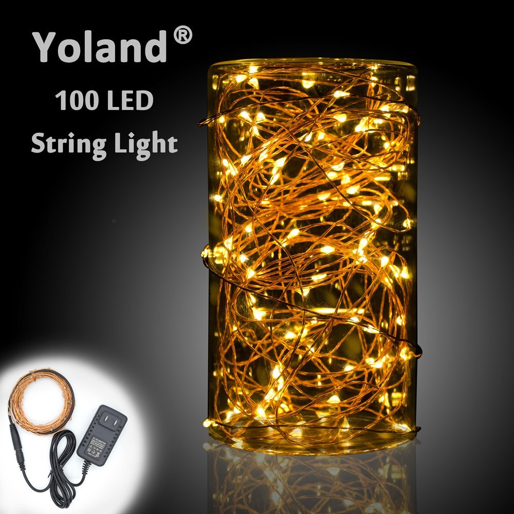 Get Quotations · Yoland LED Copper Wire Lights, 33Ft 100LEDS With 12V AC/DC  Power Adapter Starry