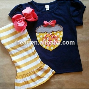 Halloween kids sets deep bule short sleeve top embroidery yellow stripes pantsgirls halloween boutique outfits
