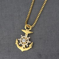Fashion Jewellery Necklace Stainless Steel Anchor Gold Plated Pendant