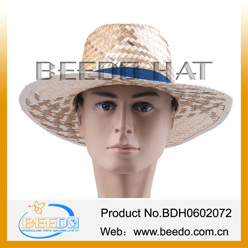 New products 2014 wheat decorating straw hats sun straw hat for adult men