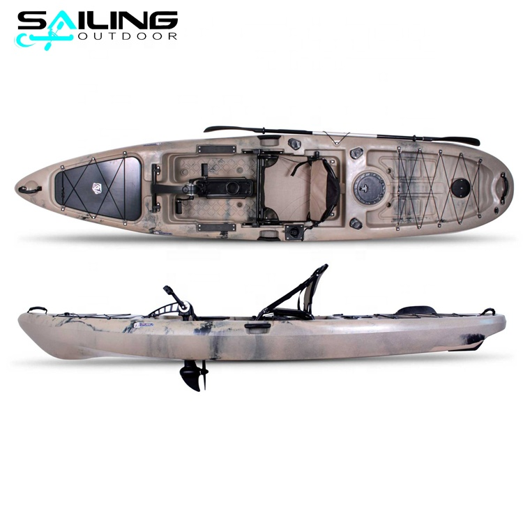 Sailing outdoor 13ft water <strong>boat</strong> con pedales sit on top fishing kayak with pedals drive motor system China factory wholesale