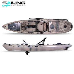 Sailing outdoor 13ft water boat con pedales sit on top fishing kayak with pedals drive motor system China factory wholesale