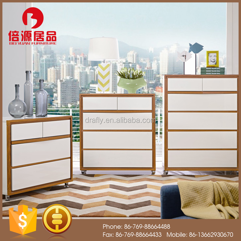 Modern functional wooden high glossy white and teak tallboy/drawer chest sets