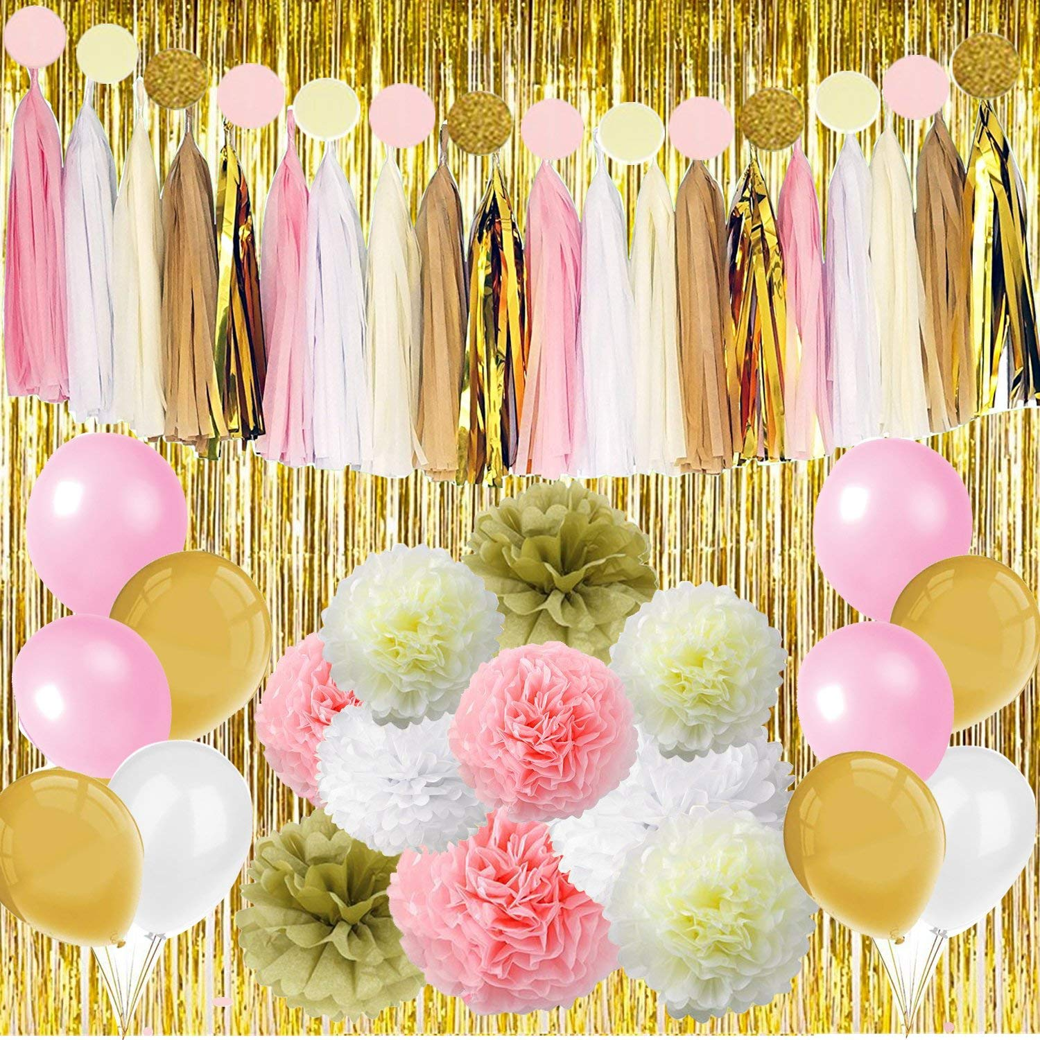 Cheap balloons and flowers find balloons and flowers deals on line get quotations 89 pcs gold pink party decorations kit party supplies including paper pom poms flowers tissue izmirmasajfo