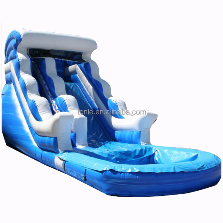 Commercial 18ft Blue Wave inflatable water slides for sale