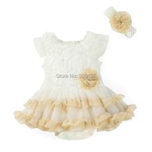 2016 Moda Bebê Roupas de Menina Conjunto Terno: Vestido Romper & Headband Bonito bebê Recém-nascido Verão Tutu Vestidos Crianças Vestido de Princesa Das Meninas