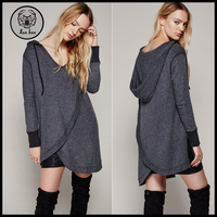 2017 Spring Wholesale Hooded Longline Irregular Tall Women Custom Hoodies