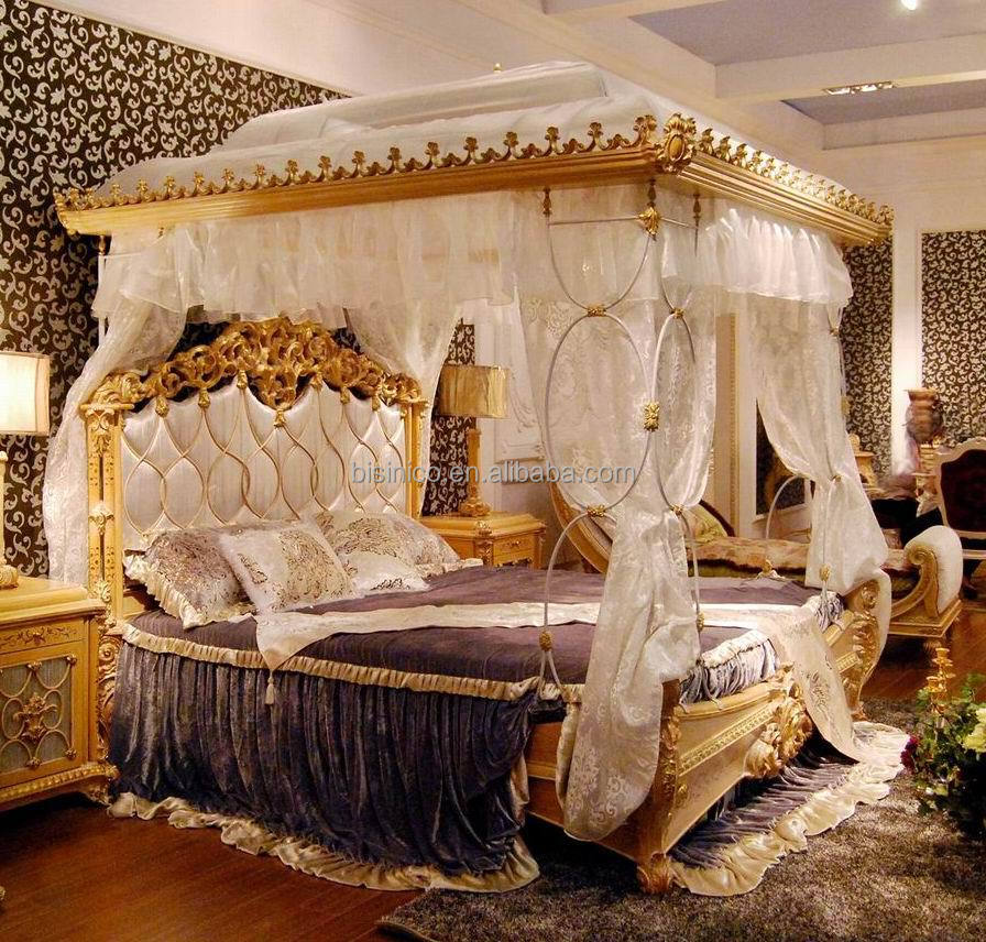 Luxury french rococo style wood carved marquetry canopy for French baroque bed