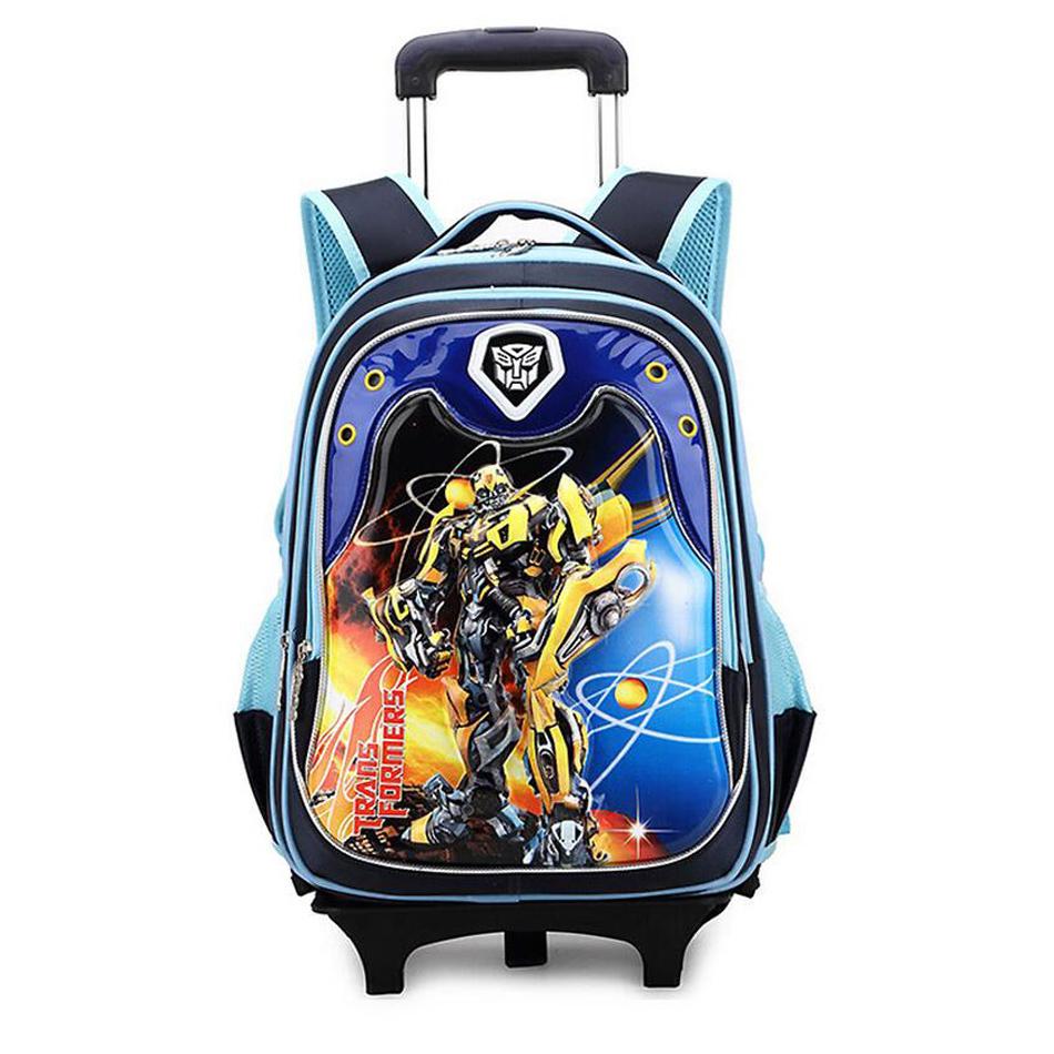 Kid Cartoon Boys Trolley School Bag Classic Travel Luggage Schoolbag Child with Wheels Backpacks for Boys Girls