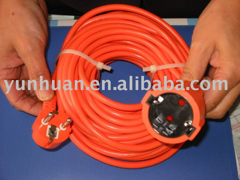 European type extension cord used in garden rubber pvc german style