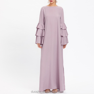 Women Muslim pink Jilbab Abaya in Dubai Latest Design Kaftan Arab clothing Fashion Hijab Ruffle sleeve Abaya Dress